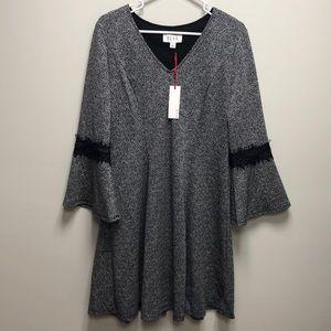 Elle Grey Black Dress Long Sleeve XL NWT!